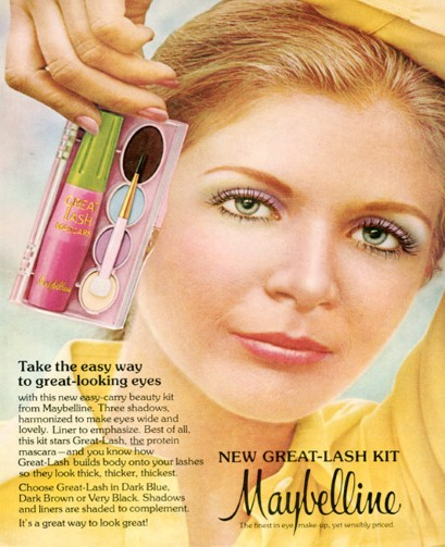 "Clever ""Great-Lash Kit"" comprising three eyeshadows, a liner and mascara (1970s)"