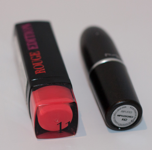 Bourjois Rouge Edition no. 11 (L) and MAC Impassioned (R)