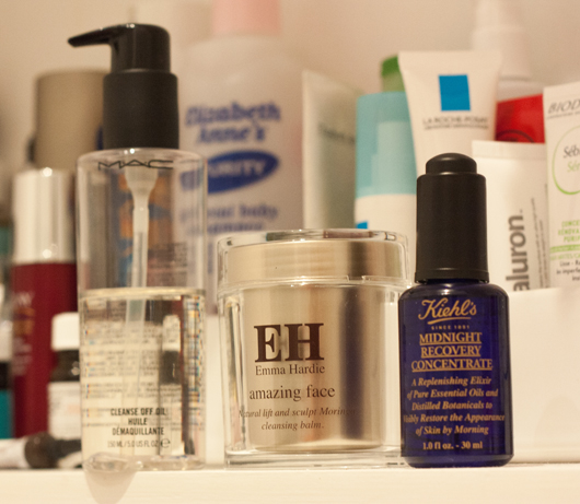 MAC Cleanse-Off Oil, Emma Hardie Cleansing Balm and Kiehl's Midnight Recovery Concentrate