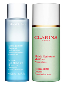 Clarins Instant Eye Make-up Remover and Hydra-Matte Lotion for Combination Skin