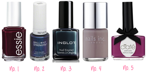 Favourite Five: Winter Nail Polishes